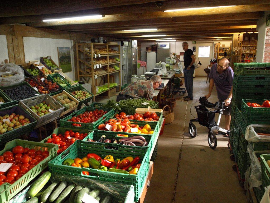 Bild von einem Hofladen mit großer Gemüseauswahl.